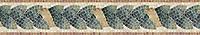 """7"""" Milano border, a hand-cut stone mosaic, shown in polishedBotticino, Verde Alpi, Verde Luna, Spring Green, Rosa Verona, Giallo Reale,and Breccia Oniciata."""