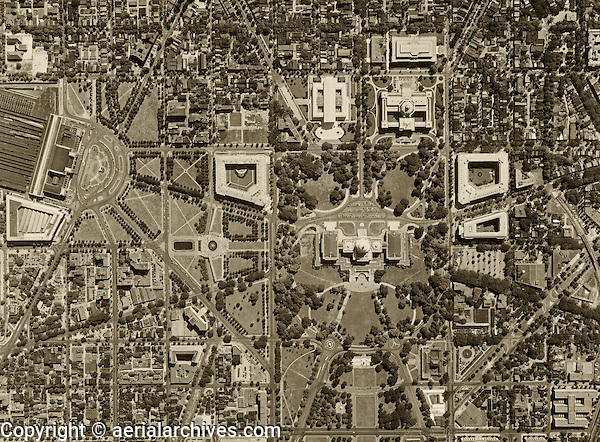 historical aerial photograph United States Capitol Washington, DC, 1951
