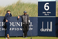 AP McCoy (IRL) and Andy Sullivan (ENG) during Round 3 of the Alfred Dunhill Links Championship 2019 at Kingbarns Golf CLub, Fife, Scotland. 28/09/2019.<br /> Picture Thos Caffrey / Golffile.ie<br /> <br /> All photo usage must carry mandatory copyright credit (© Golffile | Thos Caffrey)