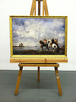 "Reproduction on canvas of The Heron Hunt By Fromentin, Eugene (1820-1876). 1865. Oil on canvas,38 1/2 "" x 27 1/2 Framed 1"" Gold Framed"