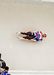 4 December 2015: Tucker West, sliding for the United States of America, enters a curve during his first run of the Viessmann Luge World Cup at the Olympic Sports Track in Lake Placid, New York, USA. West ended the day with a combined runtime of 1:42.841 for a second place finish. Mandatory Credit: Ed Wolfstein Photo *** RAW (NEF) Image File Available ***