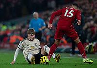 Manchester United's Brandon Williams battles with Liverpool's Alex Oxlade-Chamberlain<br /> <br /> Photographer Alex Dodd/CameraSport<br /> <br /> The Premier League - Liverpool v Manchester United - Sunday 19th January 2020 - Anfield - Liverpool<br /> <br /> World Copyright © 2020 CameraSport. All rights reserved. 43 Linden Ave. Countesthorpe. Leicester. England. LE8 5PG - Tel: +44 (0) 116 277 4147 - admin@camerasport.com - www.camerasport.com
