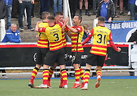 Partick Thistle players celebrate the opening goal in the SPFL Ladbrokes Championship football match between Queen of the South and Partick Thistle at Palmerston Park, Dumfries on  4.5.19.