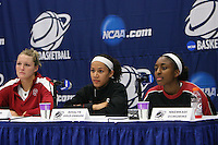 STANFORD, CA - MARCH 22:  Jayne Appel, Rosalyn Gold-Onwude, and Nnemkadi Ogwumike during a press conference during Stanford's 96-67 win over Iowa in the second round of the NCAA Women's Basketball Tournament at Maples Pavilion in Stanford, California.