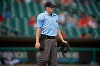 Umpire Ben Sonntag during a Southern League game between the Mobile BayBears and Montgomery Biscuits on May 2, 2019 at Riverwalk Stadium in Montgomery, Alabama.  Mobile defeated Montgomery 3-1.  (Mike Janes/Four Seam Images)