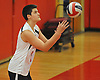 Floral Park No. 7 Nick Felicetti serves during a Nassau County varsity boys' volleyball match against Farmingdale at Floral Park High School on Thursday, September 24, 2015. He tallied 16 kills in Floral Park's 23-25, 25-19, 25-15, 25-12 win.<br /> <br /> James Escher