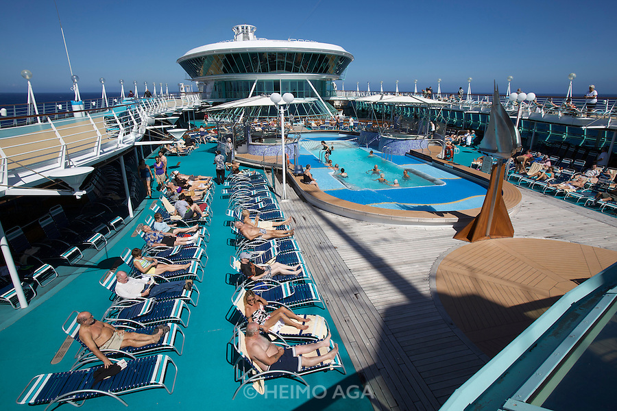 Aboard the Rhapsody of the Seas, on a cruise from Vancouver to Hawaii. The Pool Deck.