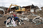 HIGASHI, JAPAN - DECEMBER 2: A destroyed residential area still not completely being cleared eight months after the tsunami on December 2, 2011,in Higashi, Japan. The small town was almost wiped off the map during the tsunami Northeastern Japan's coastline was struck by an earthquake measuring 9.0 on the Richter scale and a Tsunami on March 11, 2011 which destroyed villages and livelihoods for hundreds of thousands of people. Almost 16,000 dead, thousands missing, more than 700,000 properties destroyed and an estimated 387,000 survivors lost their homes. Its estimated that it will take more than five years to rebuild. The cost is estimated to 309 billion U.S. dollars, the world's most expensive natural disaster. Many children suffered especially with school destroyed, education interrupted and the loss of family members took a heavy toll. (Photo by Per-Anders Pettersson)