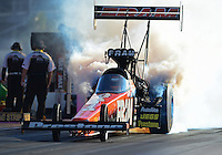 Oct. 26, 2012; Las Vegas, NV, USA: NHRA top fuel dragster driver Spencer Massey during qualifying for the Big O Tires Nationals at The Strip in Las Vegas. Mandatory Credit: Mark J. Rebilas-