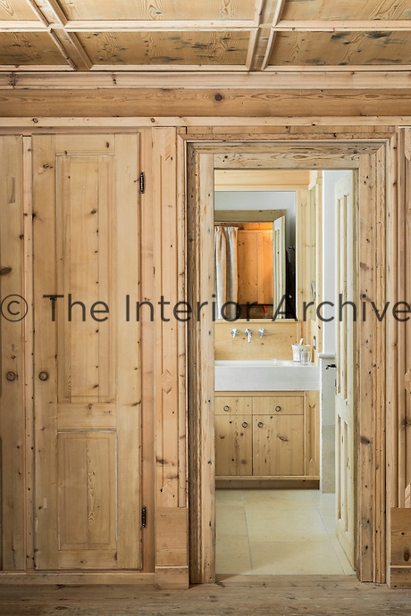 Looking from the master bedroom of the chalet into the ensuite bathroom