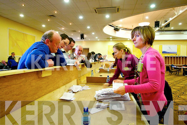 Count Staff Margaret Gleeson and Carherine Griffin   at the North Kerry, West Limerick Election 2011 count at the Brandon Hotel Tralee on Saturday.