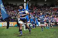 Levi Douglas and the rest of the Bath Rugby team run onto the field. Anglo-Welsh Cup Final, between Bath Rugby and Exeter Chiefs on March 30, 2018 at Kingsholm Stadium in Gloucester, England. Photo by: Patrick Khachfe / Onside Images