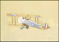 BNPS.co.uk (01202 558833)<br /> Pic: Sworders/BNPS<br /> <br /> The 'Camel' - 1917.<br /> <br /> An amazing set of watercolours painted whilst serving on the Western Front by Biggles creator W.E.Johns have emerged for sale.<br /> <br /> W.E.Johns was a bomber pilot in the fledgling RFC during the Great War, and his keen eye for detail has recorded Sopwith Camels and Fokker Triplane's wheeling through the skies.<br /> <br /> He was shot down and captured in 1918, but after the conflict he re-joined the RAF before creating boys own hero  James 'Biggles' Bigglesworth in the 1930's.<br /> <br /> Sworders 27th June, Est &pound;1000.
