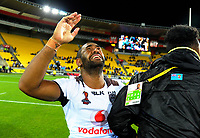 Fiji's Henry Raiwalui celebrates winning the 2017 Rugby League World Cup quarterfinal match between New Zealand Kiwis and Fiji at Wellington Regional Stadium in Wellington, New Zealand on Saturday, 18 November 2017. Photo: Dave Lintott / lintottphoto.co.nz