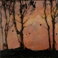 Sunset orange encaustic painting with photography of forest