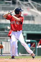 GCL Red Sox outfielder Derek Miller (46) at bat during a game against the GCL Rays on June 25, 2014 at JetBlue Park at Fenway South in Fort Myers, Florida.  GCL Red Sox defeated the GCL Rays 7-0.  (Mike Janes/Four Seam Images)