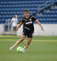 FC Gold Pride midfielder Shannon Boxx (77) takes a shot.  The FC Gold Pride defeated the Chicago Red Stars 3-2 at Toyota Park in Bridgeview, IL on August 22, 2010
