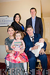 The christening of baby Liam Stack from Abbeyfeale took place in Abbeyfeale church on Saturday by Fr. Tony Mullins and the celebrations took place in the Feale room of the Arms hotel in Listowel. <br /> Pictured are baby Liam with dad Mark Stack, mum Jackie Healy with Liam's sister Séanagh, God mother Lisa Stack and God father Anthony Nash.