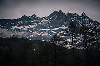 clouds start coming in at the finish in Cervinia (after he stage has finished)<br /> <br /> stage 20: Susa - Cervinia (214km)<br /> 101th Giro d'Italia 2018