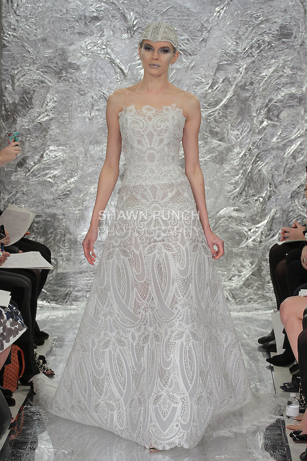 Model Irina Kondratyeva walks runway in Lupita - a fractal patterned raffia embroidered tulle bridal gown, from the Theia Spring 2017 bridal collection by Don O'Neill, during New York Bridal Fashion Week Spring Summer 2017 on April 14, 2016.