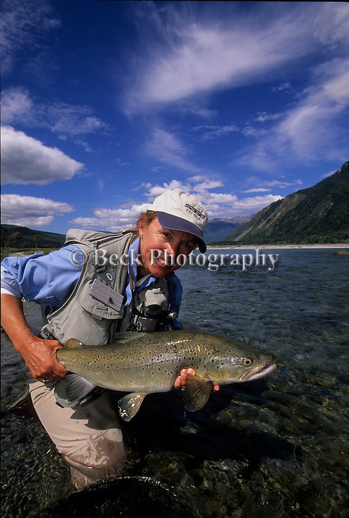 Cathy Beck with a nice brown trout from Lake Rotoroa Lodge at the South Island of New Zealand.
