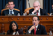 United States Representative Jamie Raskin (Democrat of Maryland), lower right, and US Representative Pramila Jayapal (Democrat of Washington), lower left, attend a US House Judiciary Committee hearing on the impeachment of US President Donald Trump on Capitol Hill in Washington, DC, December 4, 2019.<br /> Credit: Saul Loeb / Pool via CNP
