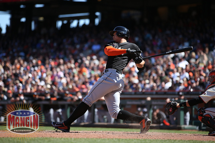 SAN FRANCISCO, CA - MAY 18:  Giancarlo Stanton #27 of the Miami Marlins bats against the San Francisco Giants during the game at AT&T Park on Sunday, May 18, 2014 in San Francisco, California. Photo by Brad Mangin