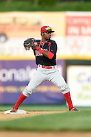 Batavia Muckdogs second baseman Mason Davis (7) attempts to turn a double play during a game against the Tri-City ValleyCats on August 2, 2014 at Joseph L. Bruno Stadium in Troy, New York.  Tri-City defeated Batavia 8-4.  (Mike Janes/Four Seam Images)