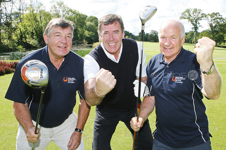 NO REPRO FEE. 27/9/2010. SBHI GOLF CLASSIC. L-R. Babs Keating, Packie Bonner and George Kennedy CEO SBHI are pictured teeing off as they aim for a hole in one at the Annual Packie Bonner Spina Bifida Hydrocephalus Ireland Golf Classic which took place in Palmerstown House Estate, at Johnstown, County Kildare. Pictrure James Horan/Collins