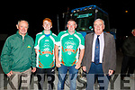 Ploughing champion Daniel Burke and Derek O'Driscoll as they arrive home in Causeway on Friday night standing with Thomas Healy (Chairman) and Tom O'Mahoney (PRO) of the Kerry Ploughing Association.