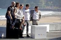"Actors Francesc Colomer (2R),  Javier Camara (L), actress Natalia de Molina, director David Trueba (C) and actor Jorge Sanz (R) posse in the photocall of the ""Vivir es facil con los ojos cerrados"" film presentation during the 61 San Sebastian Film Festival, in San Sebastian, Spain. September 24, 2013. (ALTERPHOTOS/Victor Blanco) /NortePhoto /Nortephoto"