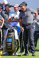 Jason Day (AUS) shares a laugh with the crowd on the first tee during round 4 Singles of the 2017 President's Cup, Liberty National Golf Club, Jersey City, New Jersey, USA. 10/1/2017. <br /> Picture: Golffile | Ken Murray<br /> <br /> All photo usage must carry mandatory copyright credit (&copy; Golffile | Ken Murray)