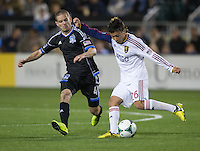 March 3rd, 2013: Sebastian Velasquez controlling the ball away from Sam Cronin during a game at Buck Shaw Stadium, Santa Clara, Ca.  Salt Lake Real defeated San Jose Earthquakes