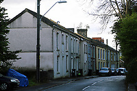 Terraced houses in Cyfyng Road, which have been either abandoned or evacuated over fears of a landslide in the area in Ystalyfera, Wales, UK. Wednesday 30 August 2017