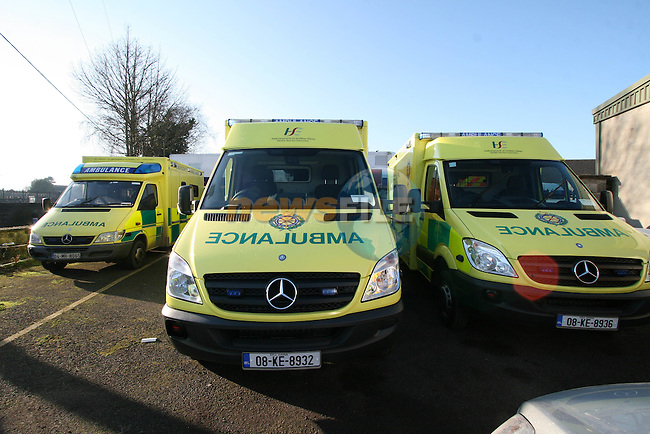 Ambulances at the Ambulance Headquartes in Navan. At least three ambulances have burst into flames in Ireland over the past year, prompting the Health Service Executive to order that all 2006 model Mercedes ambulances be taken off the road for inspection...Photo NEWSFILE/Jenny Matthews.(Photo credit should read Jenny Matthews/NEWSFILE)....This Picture has been sent you under the condtions enclosed by:.Newsfile Ltd..The Studio,.Millmount Abbey,.Drogheda,.Co Meath..Ireland..Tel: +353(0)41-9871240.Fax: +353(0)41-9871260.GSM: +353(0)86-2500958.email: pictures@newsfile.ie.www.newsfile.ie.FTP: 193.120.102.198.