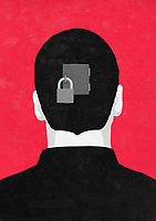 Padlock on door in back of man's head ExclusiveImage