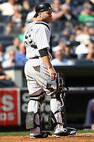 09/19/11 Bronx, NY: New York Yankees catcher Russell Martin #55 during an MLB game played at Yankee Stadium between the Minnesota Twins and the New York Yankees. The Yankees defeated the Twins 6-4.