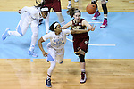 01 February 2015: North Carolina's Danielle Butts (10) and Boston College's Kelly Hughes (right) challenge for a rebound. The University of North Carolina Tar Heels hosted the Boston College Eagles at Carmichael Arena in Chapel Hill, North Carolina in a 2014-15 NCAA Division I Women's Basketball game. UNC won the game 72-60.