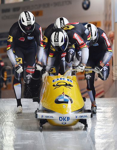 13.12.2015. Koenigssee, Germany. Bobbers Francesco Friedrich, Jannis Baecker, Alexander Roediger, and Thorsten Margis of Germany take off in their four-man bob at the Bobsleigh World Cup in Koenigssee, Germany, 13 December 2015.