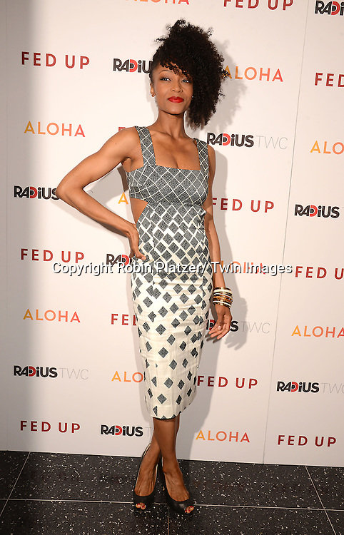 "Yaya DeCosta  attends the New York Premiere of ""FED UP"" on May 6, 2014 at The Museum of Modern Art in New York City."