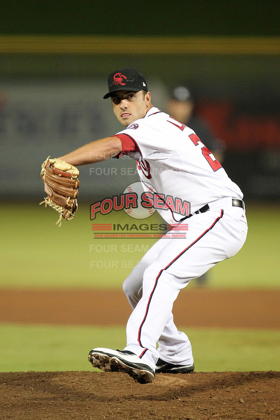 Scottsdale Scorpions pitcher Pat Lehman #27 during an Arizona Fall League game against the Surprise Saguaros at Scottsdale Stadium on November 2, 2011 in Scottsdale, Arizona.  Surprise defeated Scottsdale 5-4.  (Mike Janes/Four Seam Images)