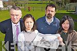 Liam McGuire Killarney Rugby club, Emiko Maki (Japanese student), Fergal Courtney Killarney School of English and Mayumi Kaede (Japanese student) who are organising a fundaraiser for Satoshi Otsuka a former student and Kiilarney rugby player who village was destroyed in the Japan disaster on Friday