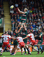 Luke Hamilton of Leicester Tigers wins the ball at a lineout. Aviva Premiership match, between Leicester Tigers and Gloucester Rugby on September 16, 2017 at Welford Road in Leicester, England. Photo by: Patrick Khachfe / JMP