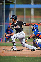 GCL Marlins designated hitter Angel Reyes (17) at bat during the first game of a doubleheader against the GCL Mets on July 24, 2015 at the St. Lucie Sports Complex in St. Lucie, Florida.  GCL Marlins defeated the GCL Mets 5-4.  (Mike Janes/Four Seam Images)
