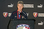 16 January 2009: United States Women's National Team head coach Pia Sundhage. The 2009 inaugural Womens Pro Soccer (WPS) Draft was held at the Convention Center in St. Louis, Missouri in conjuction with the National Soccer Coaches Association of America's annual convention.