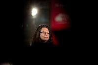 Die SPD-Generalsekret&auml;rin Andrea Nahles gibt am Freitag (13.12.13) in Berlin ein Pressestatement zum SPD Mitgliederentscheid ab. <br /> Foto: Axel Schmidt/CommonLens