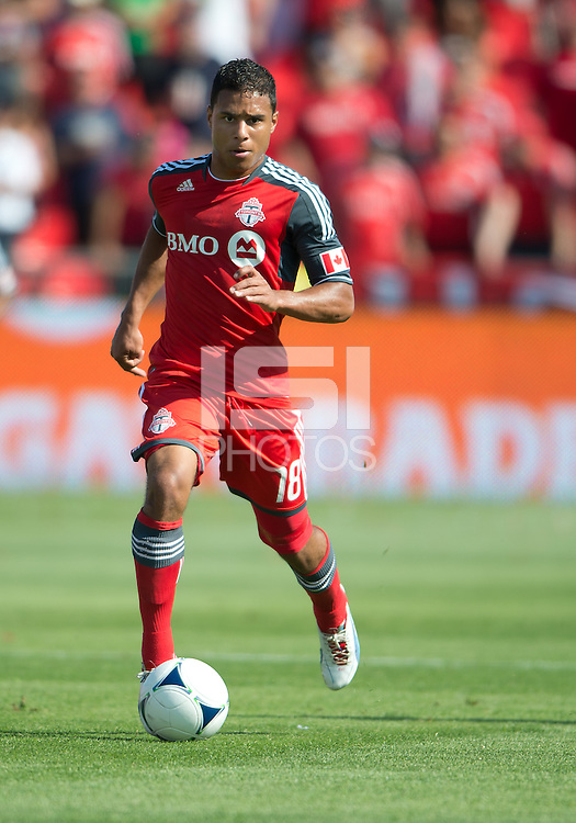 July 28, 2012: Toronto FC forward Quincy Amarikwa #18 in action during a game between Toronto FC and the Houston Dynamo at BMO Field in Toronto, Ontario Canada..The Houston Dynamo won 2-0.