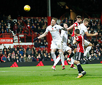 Yoann Barbet of Brentford heads towards goal during the Sky Bet Championship match between Brentford and Leeds United at Griffin Park, London, England on 4 November 2017. Photo by Carlton Myrie.