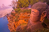 Leshan Great Buddha statue.Sichuan Province,  China.Confluence of Min, Qingyi, and Dadu Rivers.Carved from cliff in 8th Century.UNESCO World  Heritage Site