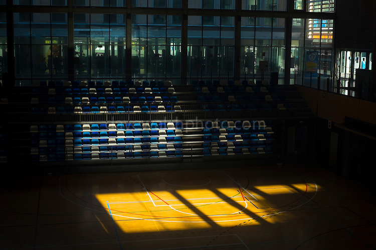 Sunlight in empty sports hall, Sant Cugat del Valles, Barcelona.